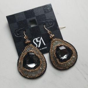 Saks Fifth Avenue Black Diamond Statement Earrings
